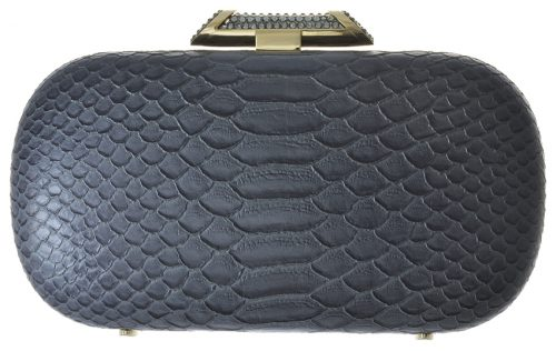 Amishi Grey Python skin design clutch with Crystal clasp