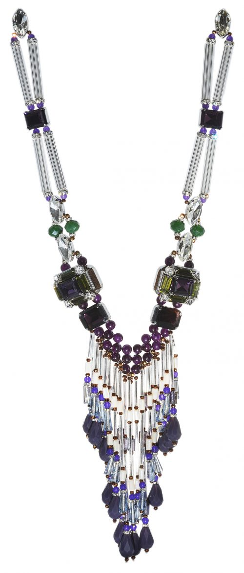 Amishi purple & green beaded statement necklace