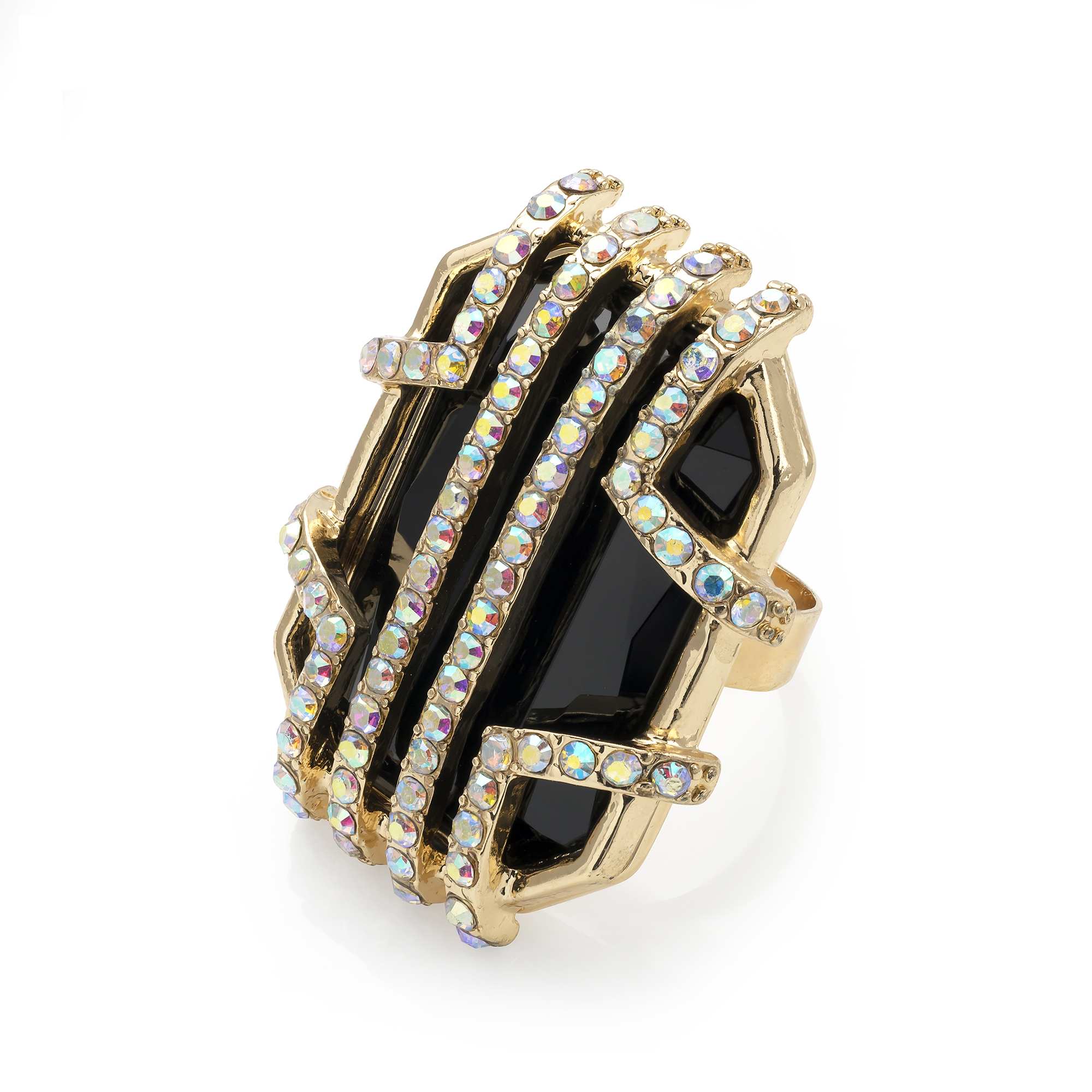 Gold colour ring with jet bead and crystals-Sartorial Boutique and Gifts