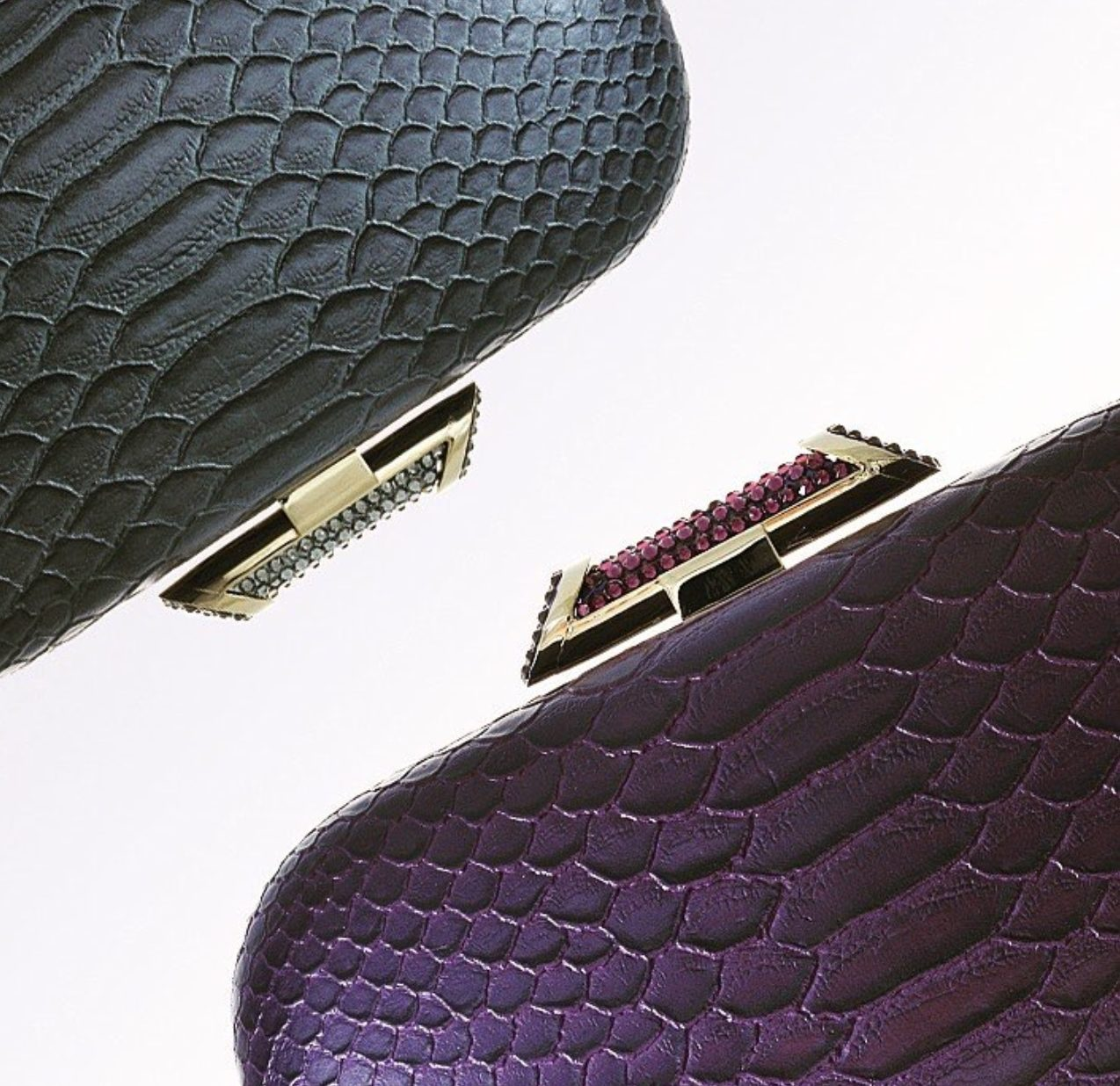 Amishi Grey Python skin design clutch with Crystal clasp