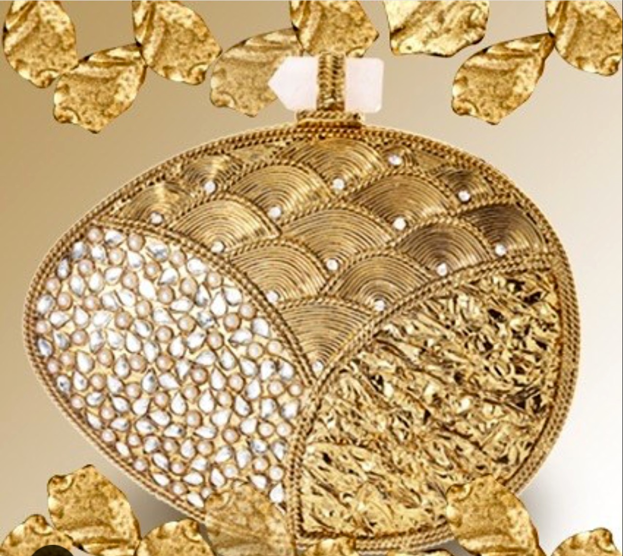 Amishi Gold metal clutch with Crystal embellishments and Agate clasp