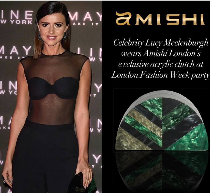 TOWIE Celebrity pictured with Amishi clutch more styles available at Sartorial Boutique & Gifts