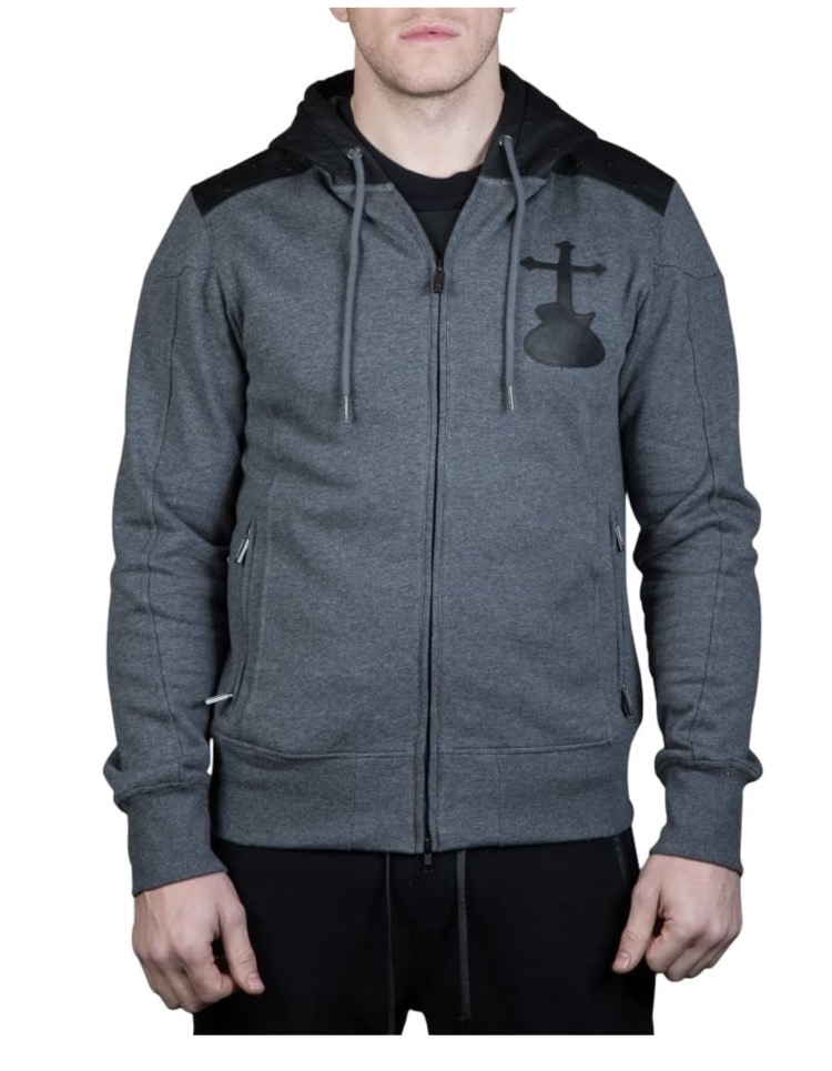 Elvis & Jesus Grey Testify Hoodie with leather detail