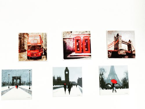 canvas painting - London Bridge | London Bus | London Telephone Box | couple on a bridge | couple at Eiffel Tower | couple at Big Ben