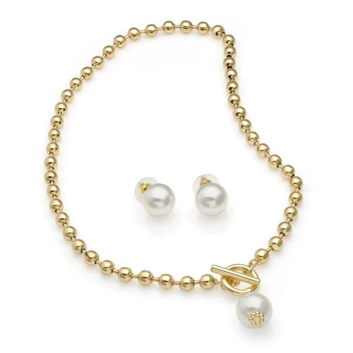 Gold colour ball chain choker necklace & earring set with cream imitation pearls