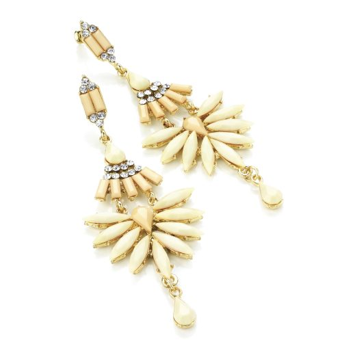 Light peach and cream tone beaded drop earrings with clear crystals, set in gold effect casings