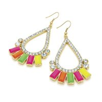 Multicoloured neon beaded drop earrings with clear crystals, set in gold effect casings