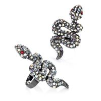 Gun metal colour crystal effect snake expandable ring - Sartorial Boutique and Gifts