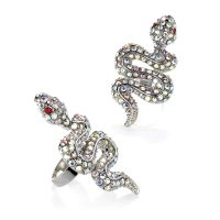 Silver colour crystal effect snake expandable ring with red eyes