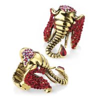 Burnished gold metal elephant ring with siam red crystals - Sartorial Boutique and Gifts