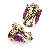 Burnished gold metal elephant ring with fuchsia crystals - Sartorial Boutique and Gifts