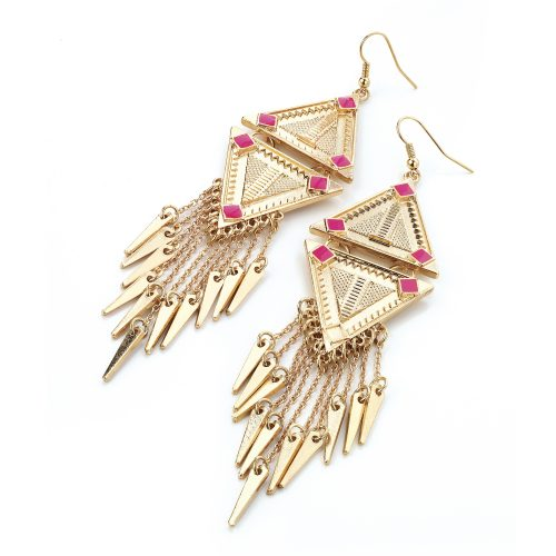 Gold colour drop earrings with neon pink enamel detail