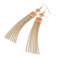 Gold colour chain earrings with coral enamel detail