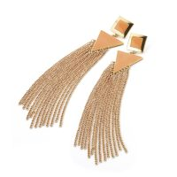 Gold colour long chain earrings with peach enamel detail - Sartorial Boutique and Gifts