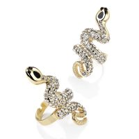 Gold metal expandable crystal snake ring - Sartorial Boutique and Gifts
