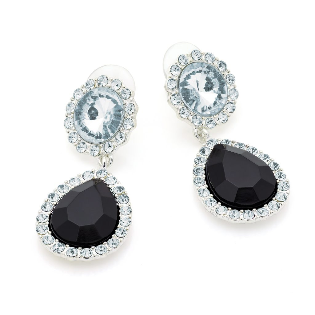 Clear crystals & black bead drop earrings with silver effect casings - Sartorial Boutique and Gifts