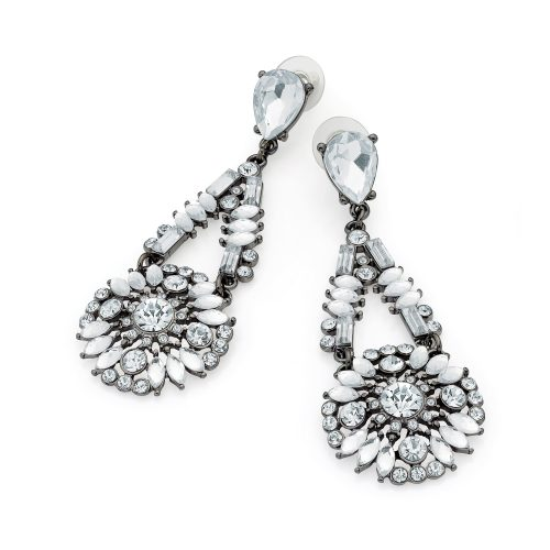Dramatic grey crystal drop earrings