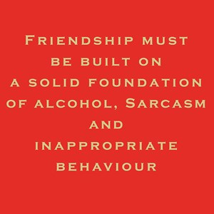 Susan O'Hanlon card - Friendship must be built on a solid foundation of alcohol, sarcasm and inappropriate behaviour - Sartorial Boutique and Gifts