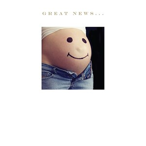 Susan O'Hanlon card - Great News... smiling pregnant tummy - Sartorial Boutique and Gifts