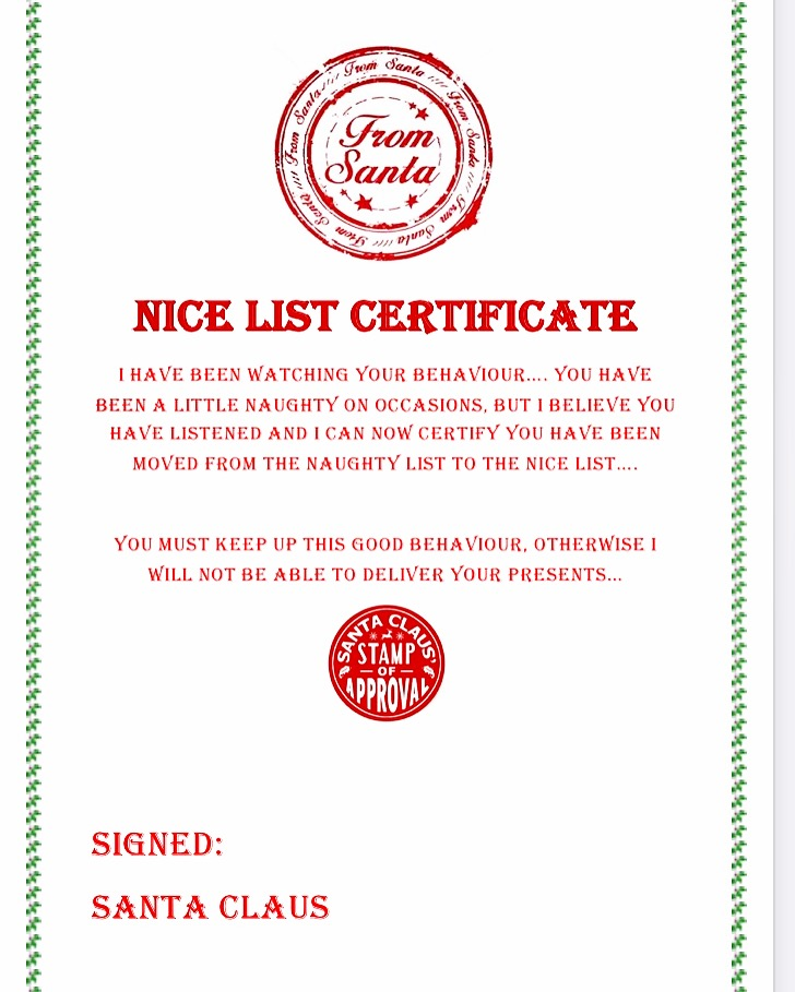 Christmas nice list certificate at Sartorial