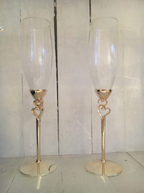 Stainless Steel stem Champagne flutes with heart and crystal detail - Sartorial Boutique and Gifts
