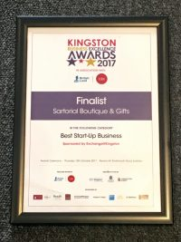 Finalist Best Start Up Business 2017 - Sartorial Boutique and Gifts