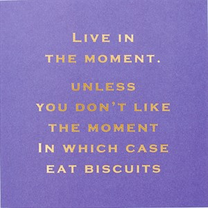 Susan O'Hanlon card - live in the moment.... eat biscuits