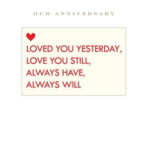 Susan O'Hanlon card - Our Anniversary... loved you yesterday... - Sartorial Boutique and Gifts