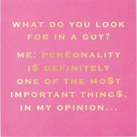 Susan O'Hanlon card - what do you look for in a guy...- Sartorial Boutique and Gifts