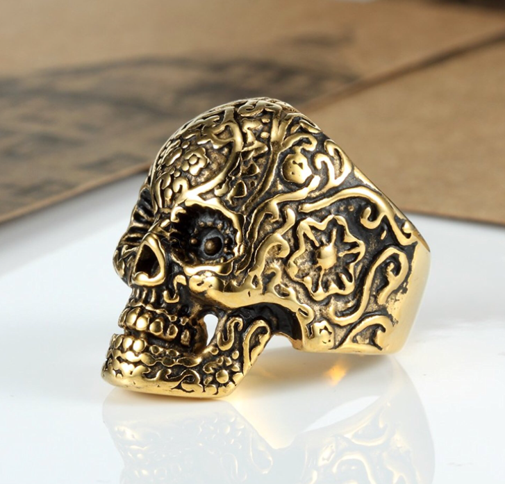 Gold Tone Stainless Steel Skull ring