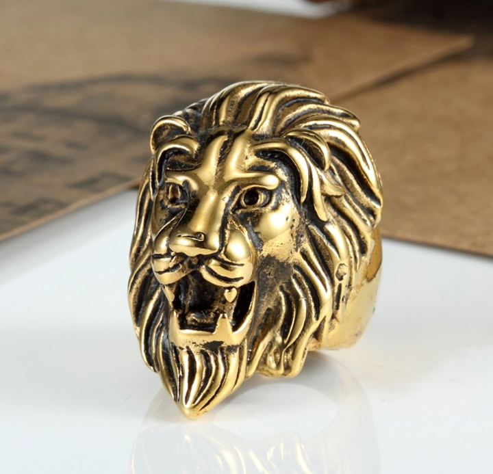 Gold Tone Stainless Steel Lion Head ring