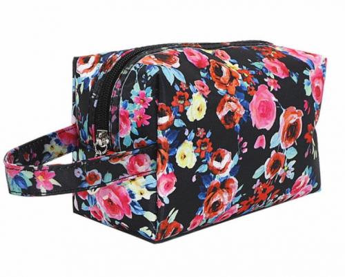Washbag / Make up bag - black floral
