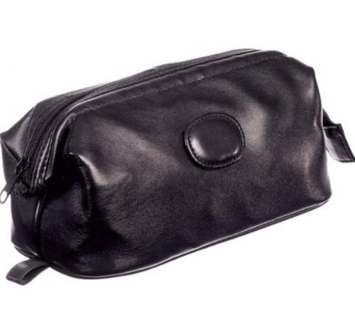 Black leatherette men's washbag