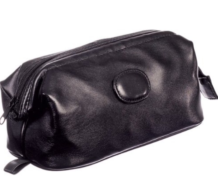 Black leatherette men's washbag