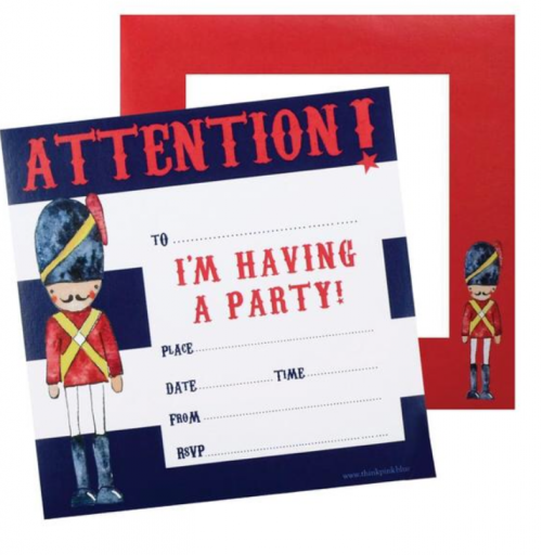 Soldier party invitations