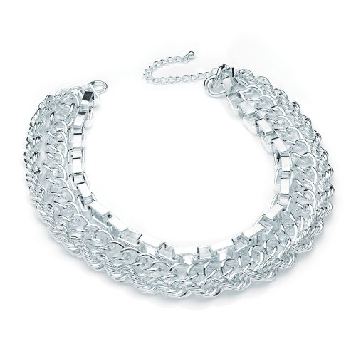 3 row silver colour chain necklace