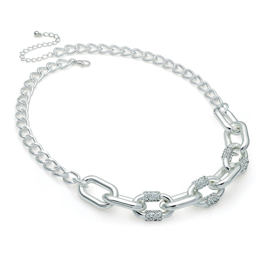 Silver colour crystal chain link necklace