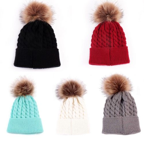 Baby / Toddler Faux Fur pom pom hats