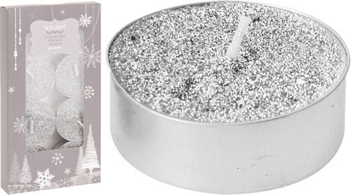 8 pack silver glitter tealight candles
