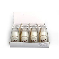 Glass milk bottle vanilla scented candle