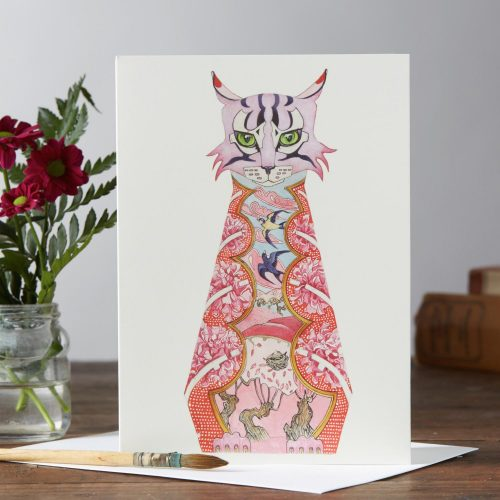 Daniel Mackie collection pink cat card - Sartorial Boutique and Gifts online