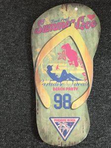 large surfer dude wooden flip flop wall plaque