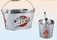 Metal beer bucket cooler with bottle opener