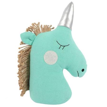 Turquoise unicorn doorstop