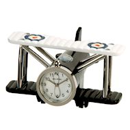 miniature metal bi-plane clock
