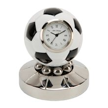 miniature rotating football clock - brushed silver