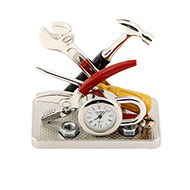 miniature tools clock - silver plated