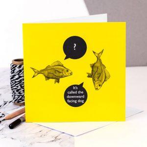 yoga downward dog - fishy business Coulson Macleod card