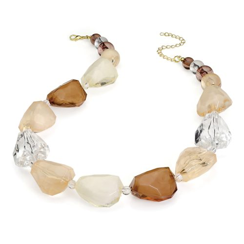 brown tone marble effect chunky necklace