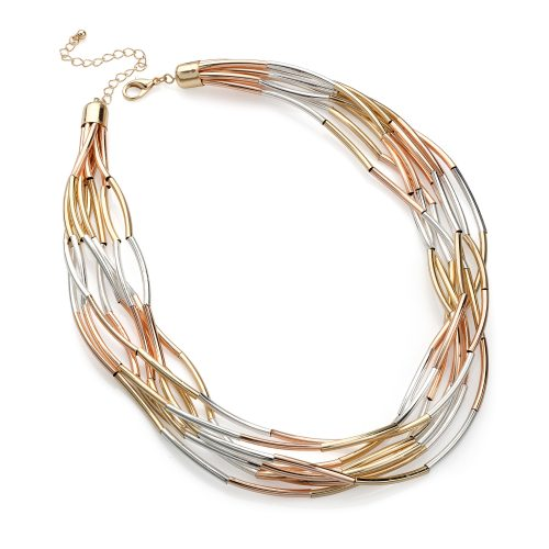 Eight row shiny rose, gold and silver colour necklace N30326